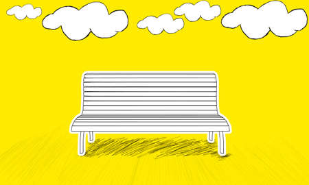 enviroment: isolated bench in sky enviroment concept