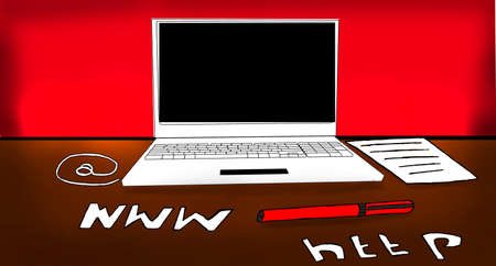 http: laptop on table with a pen and paper , internet , www , http concept Stock Photo