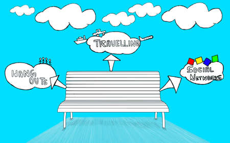 outs: think bubbles pop out from an isolated bench situated in  sky environment - think bubles consists of hang outs , travelling , social networking concepts