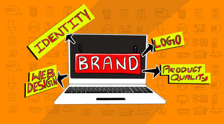 associated: different elements associated with branding concept visualized - laptop screen with branding concept