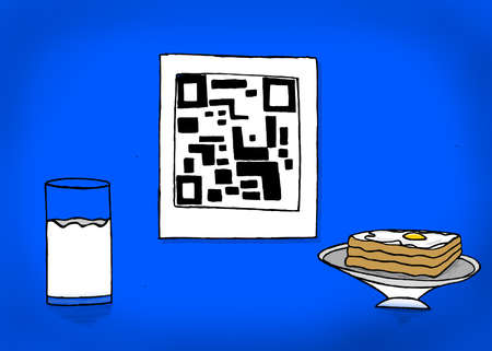 boiled egg: isolated qr code with a glass of milk and bread and half boiled egg omelette on bread concept