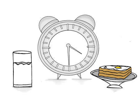 boiled egg: isolated clock with a glass of milk and bread and half boiled egg omelette on bread concept