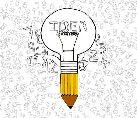 attached: idea bulb attached to pencil concept Stock Photo