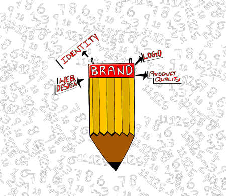product quality: brand attached to pencil concept - web design , identity , logo , product quality