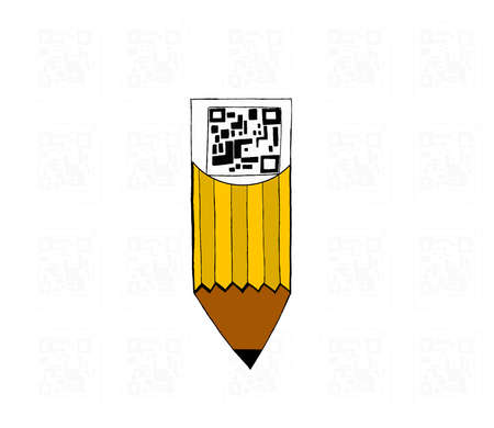 attached: qr code attached to pencil concept