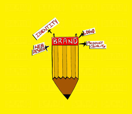 attached: brand attached to pencil concept - web design , identity  , product quality