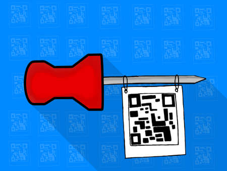 paper pin: isolated note paper pin hanging qr code tag concept - with theme based icon tiled background