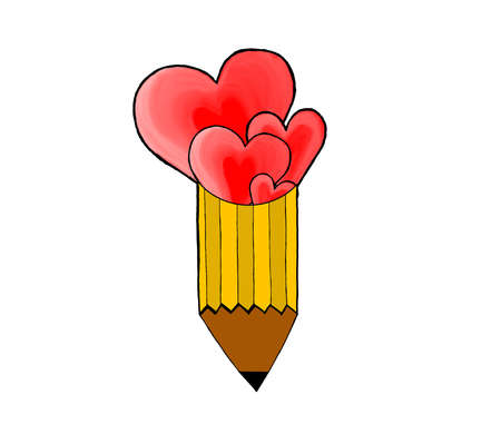 attached: isolated twin heart shapes attached to pencil concept