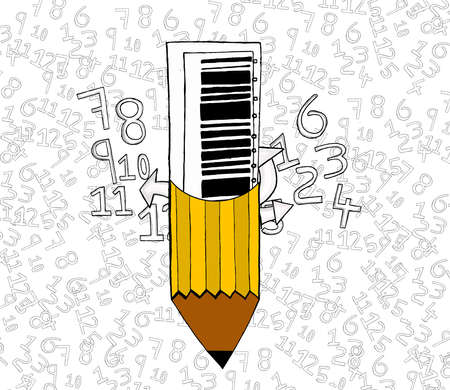 attached: isolated bar code attached to pencil concept