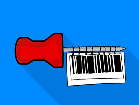paper pin: isolated note paper pin hanging bar code tag  concept