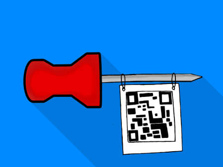 paper note: isolated note paper pin hanging qr code tag concept