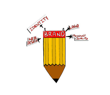 attached: brand attached to pencil concept - web design , identity , logo , product quality