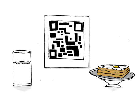 boiled eggs: isolated qr code with a glass of milk and bread and half boiled egg omelette on bread concept