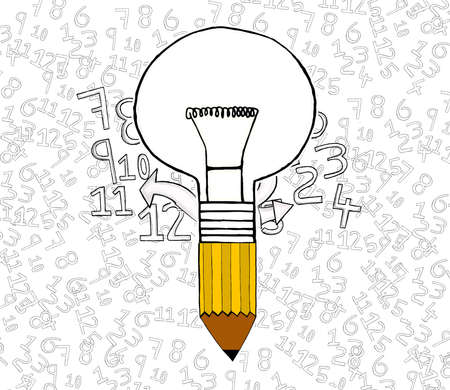 attached: bulb attached to pencil concept