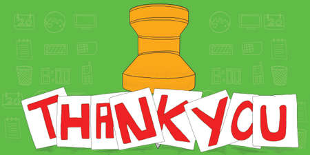 paper pin: thank you text on notes - a note paper pin behind