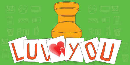 paper pin: love you text on notes concept - a note paper pin behind