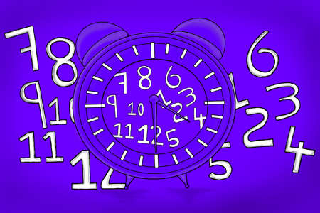 alarmclock: isolated clock with different numbers scattered everywhere concept Stock Photo