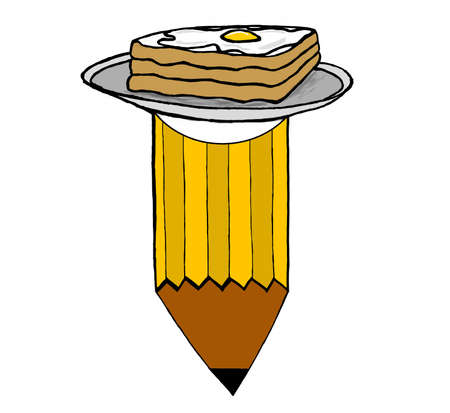 boiled egg: half boiled egg omelette on bread in a plate attached to pencil - write or draw for living  food