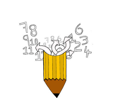 everywhere: different numbers scattered everywhere coming out from pencil concept Stock Photo