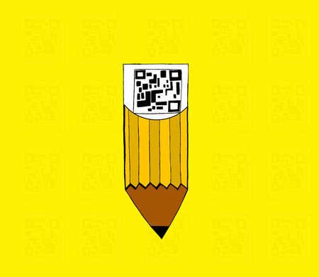 qr code: qr code attached to pencil concept