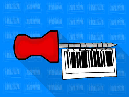 paper pin: isolated note paper pin hanging bar code tag  concept - with theme based icon tiled background