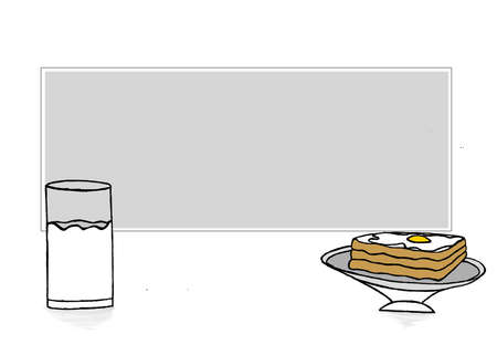 boiled eggs: a rectangular text revealer with a glass of milk and bread and half boiled egg omelette on bread concept