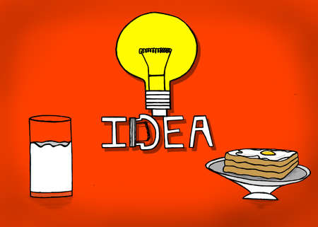 boiled: isolated bulb idea concept with a glass of milk and bread and half boiled egg omelette on bread concept