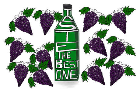 skecth: bottle with the text taste the best one concept with tiled grapes background Stock Photo