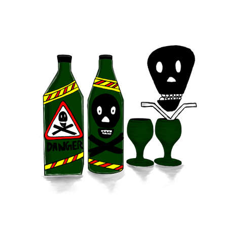 marked: bottles marked with danger symbol in it , and wine glass  concept in white isolated background