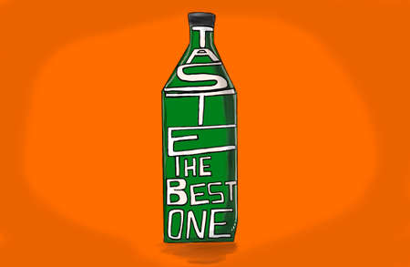 skecth: bottle with the text taste the best one concept