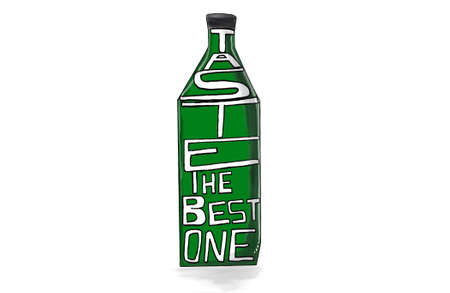 skecth: bottle with the text taste the best one concept in white isolated background