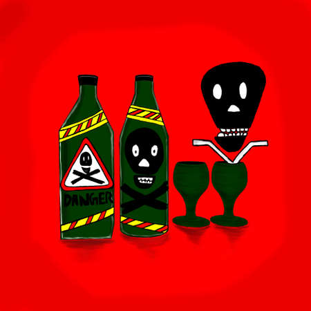 skecth: bottles marked with danger symbol in it , and wine glass  concept