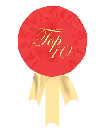 recognized: 3d ribbon badge with congratulation text displayed concept in white isolated background Stock Photo
