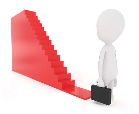 proffesional: 3d man holding a black suitcase and about to walk in to a staircase concept in white isolated background