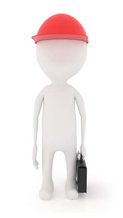 while: 3d character standing idle while wearing a cap and holding a suitcase in hand concept Stock Photo
