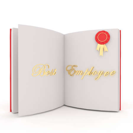 best employee: 3d open book where a prize badge is pinned and best employee text is shown in white isolated background concept