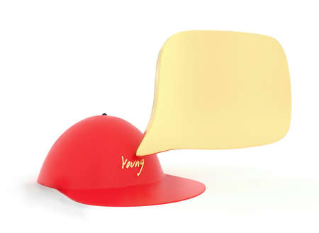 opinions: 3d youth labelled cap representing youth and their opinions , thoughts , memmories , experiences can be written on the speech bubble Stock Photo