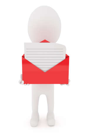 recieve: 3d character holding a open envelope with lined letter inside it concept in white isolated background
