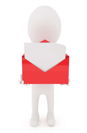 recieve: 3d character holding a open envelope with blank letter inside it concept in white isolated background Stock Photo