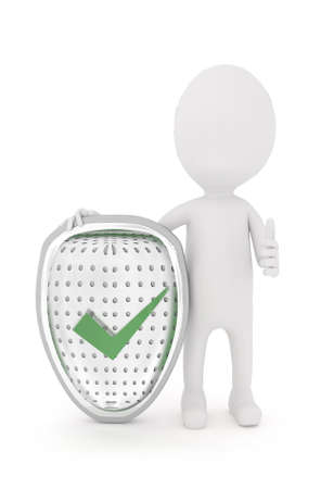 shielded: 3d character presenting safety ensrued shield concept in white isolated background Stock Photo