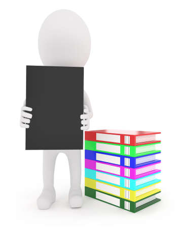 stack of files: 3d character holding a file in hand with a stack of files on the floor near by concept in white isolated background