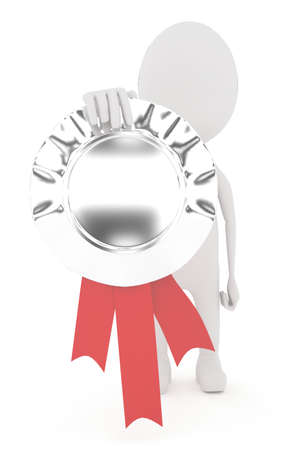 merit: 3d character holding prize ribbon in hand concept in white isolated background Stock Photo