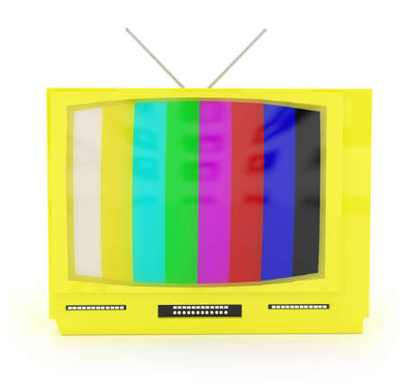 tunes: 3d television with antenna concept in white isolated background