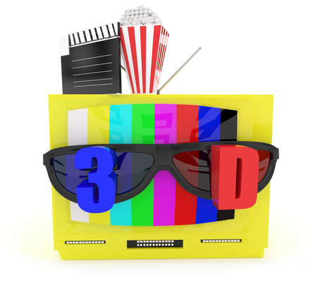 stereoscopic: 3d television with stereoscopic 3d support with film clapboard and popcorn placed top of the tv concept in white isolated background
