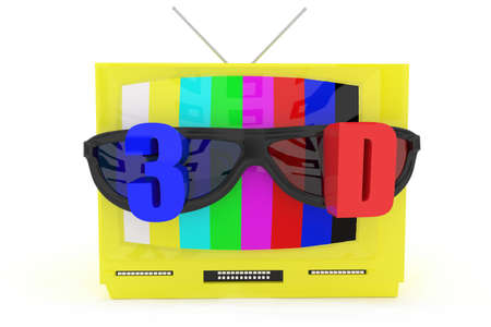 stereoscope: 3d television with stereoscopic 3d support concept in white isolated background Stock Photo