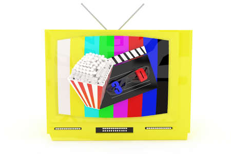 televison: 3d television with 3d support , a clapboard and popcorn projected from the televison screen concept in white isolated background