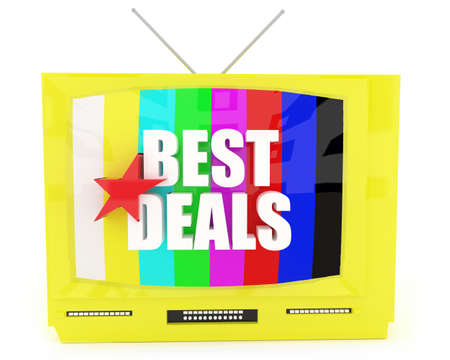 good deal: 3d television best deals concept in white isolated background Stock Photo