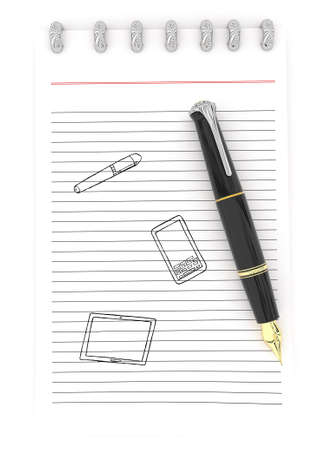 visualizing: 3d notepad and pen with mobile phone , tablet and pen drawing on paper concept in white isolated background