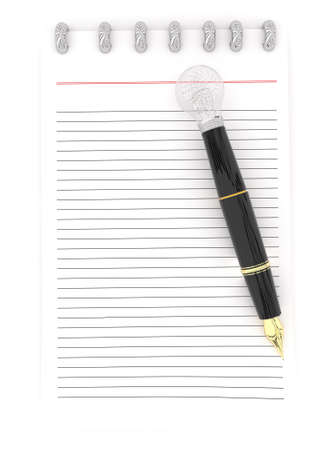 representing: 3d notepad and a pen , the pen representing as a visualizing pen concept in white isolated background