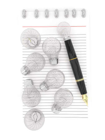 representing: 3d notepad and a pen , with lot of bulbs scattered inside paper , the pen representing as a visualizing pen concept in white isolated background